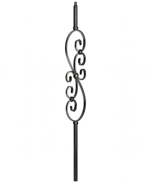 "HF34.1.25-T: Mega 3/4"" Hollow Square 18 Gauge Aluminum Scroll Baluster"