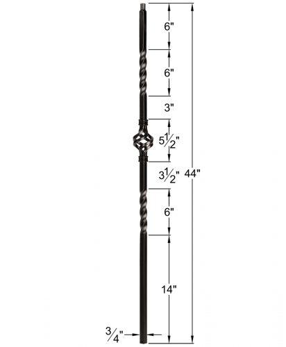 "HF34.1.3-T: Mega 3/4"" Hollow Square 18 Gauge Aluminum Double Twist & Basket Baluster Dimensions"