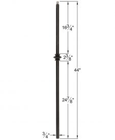 "HF34.1.34-T: Mega 3/4"" Hollow Square 18 Gauge Aluminum Knuckle Baluster Dimensions"