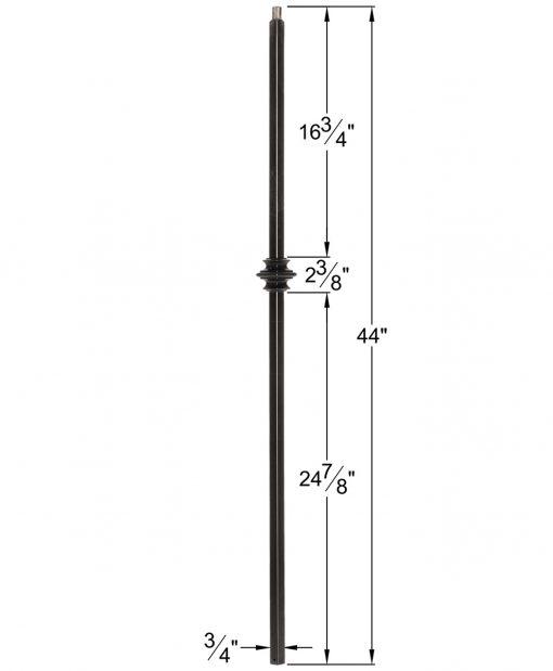 "HF34.1.34-T: Mega 3/4"" Hollow Square 18 Gauge Aluminum Knuckle Baluster Dimensions"
