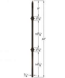 "HF34.1.35-T: Mega 3/4"" Hollow Square 18 Gauge Aluminum Double Knuckle Baluster Dimensions"