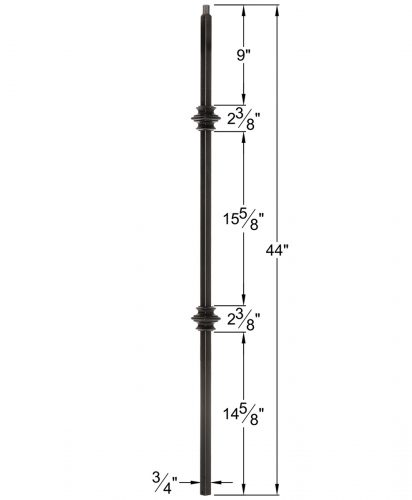 "HF34.1.35-T: Mega 3/4"" Hollow Square 18 Gauge Aluminum Double Knuckle Baluster Dimensions"