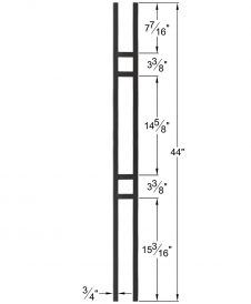 "HF34.6.1: Mega 3/4"" Hollow Square 18 Gauge Aluminum Double Square Baluster Dimensions"