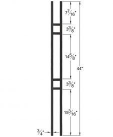 "HF34.6.1: Mega 3/4"" Hollow Square 18 Gauge Aluminum Double Square Baluster Dimensions"