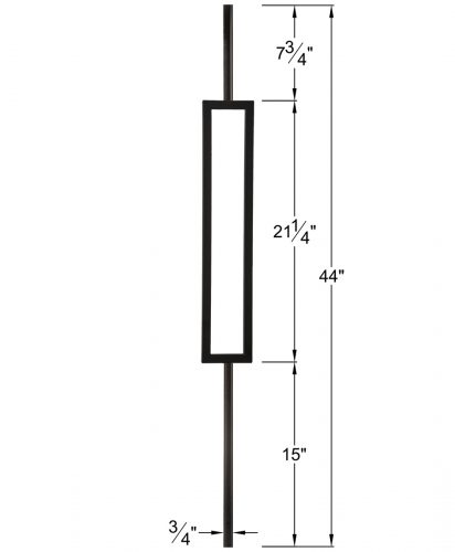 "HF34.6.3: Mega 3/4"" Hollow Square 18 Gauge Aluminum Rectangle Baluster Dimensions"