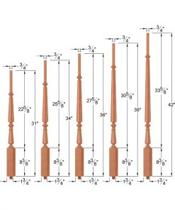 "OP-2710-5L-175-DF8: 1 3/4"" Doric Fluted 8 Taper-Top Baluster Dimensions"