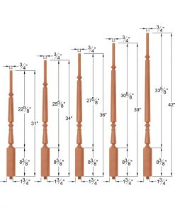"OP-2710-5L-175: 1 3/4"" Taper-Top Baluster Dimensions"