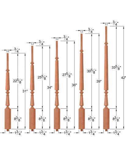 """OP-2710-5L-175-OCTB: 1 3/4"""" Octagon Barrel Taper-Top Baluster Dimensions"""