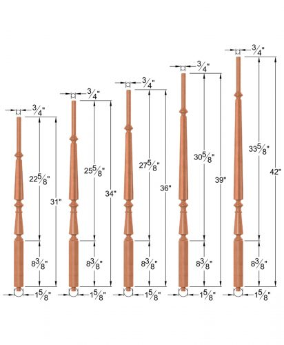 """OP-2710-5L-175-RBB-DF8: 1 5/8"""" Round Base Doric Fluted 8 Taper-Top Baluster Dimensions"""