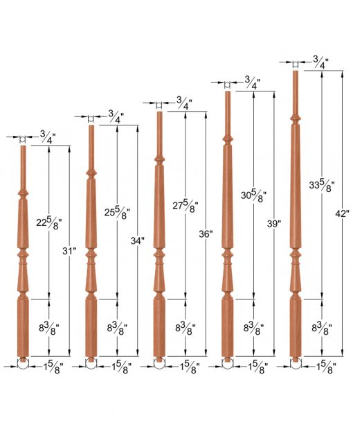 """OP-2710-5L-175-RBB: 1 5/8"""" Round Base Taper-Top Baluster Dimensions"""