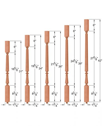 "OP-2715-5L-175: 1 3/4"" Block-Top Baluster Dimensions"