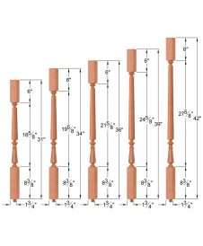"OP-2715-5L-175-OCTB: 1 3/4"" Octagon Barrel Block-Top Baluster Dimensions"