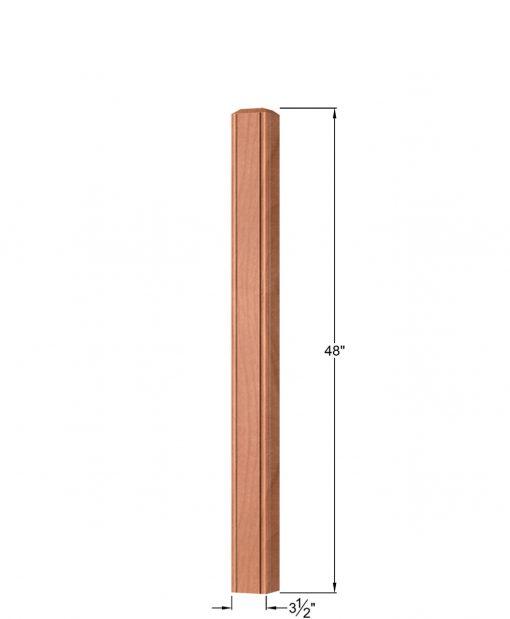 "OP-4000-350-BC: 3 1/2"" Beaded Corner Universal Newel Post Dimensions"