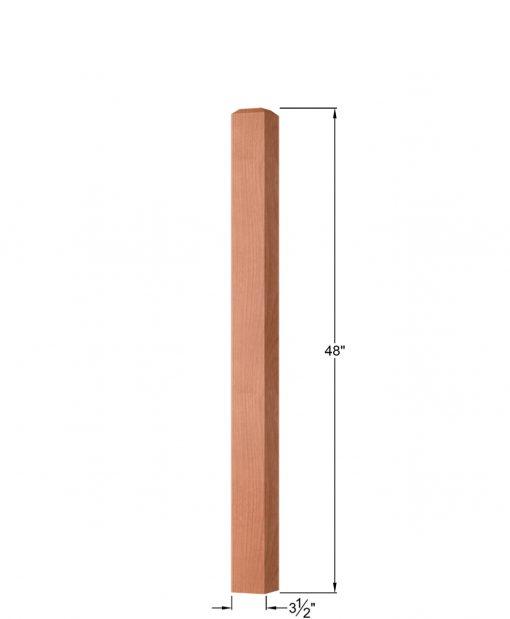 "OP-4000-350: 3 1/2"" Square Universal Newel Post Dimensions"