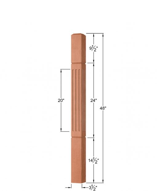 """OP-4000-350-FG: 3 1/2"""" Fluted & Grooved Universal Newel Post Dimensions"""