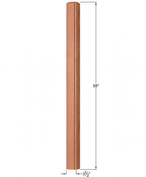 "OP-4001-350-BC: 3 1/2"" Beaded Corner Universal Newel Post Dimensions"