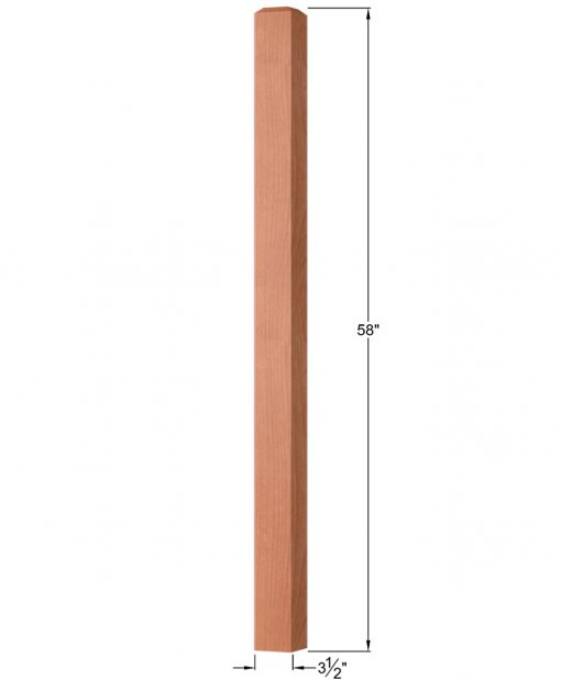 "OP-4001-350: 3 1/2"" Square Universal Newel Post Dimensions"