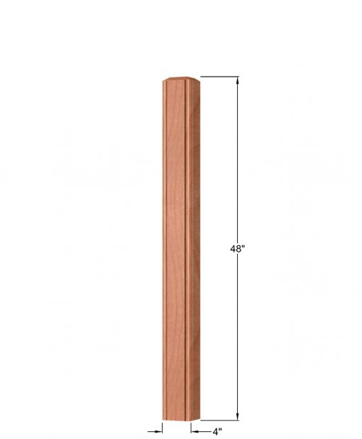 "OP-4002-400-BC: 4"" Beaded Corner Universal Newel Post Dimensions"