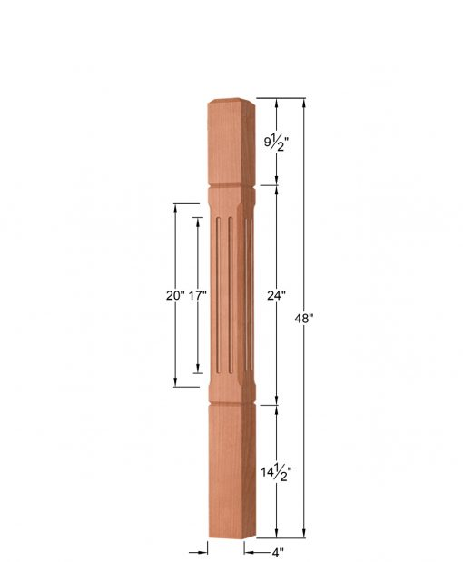 Fluted & Grooved Universal Newel Post