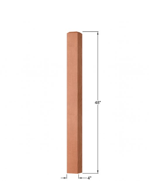 "OP-4002-400: 4"" Square Universal Newel Post Dimensions"