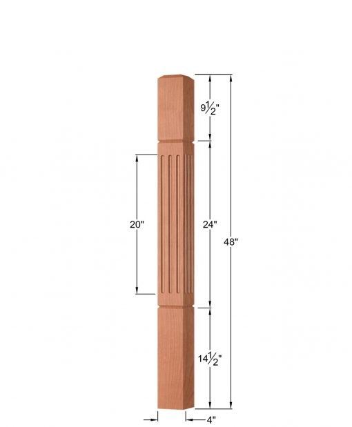 """OP-4002-400-FG: 4"""" Fluted & Grooved Universal Newel Post Dimensions"""