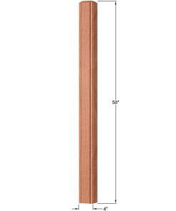 "OP-4003-400-BC: 4"" Beaded Corner Universal Newel Post Dimensions"