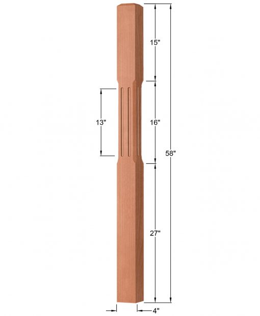 """OP-4003-400-CF: 4"""" Chamfered & Fluted Universal Newel Post Dimensions"""