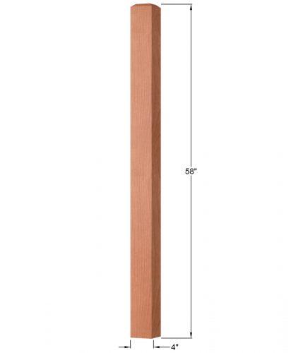 "OP-4003-400: 4"" Square Universal Newel Post Dimensions"