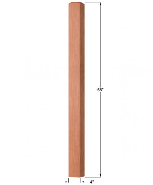 "OP-4003-400: 4"" Square Universal Newel Post Dimensions"