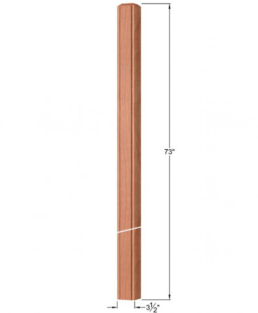 """OP-4019-350-BC: 3 1/2"""" Beaded Corner Intersection or Winder Newel Post Dimensions"""