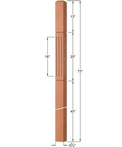"""OP-4019-350-FG: 3 1/2"""" Fluted & Grooved Intersection or Winder Newel Post Dimensions"""