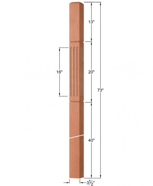 "OP-4019-350-FG: 3 1/2"" Fluted & Grooved Intersection or Winder Newel Post Dimensions"