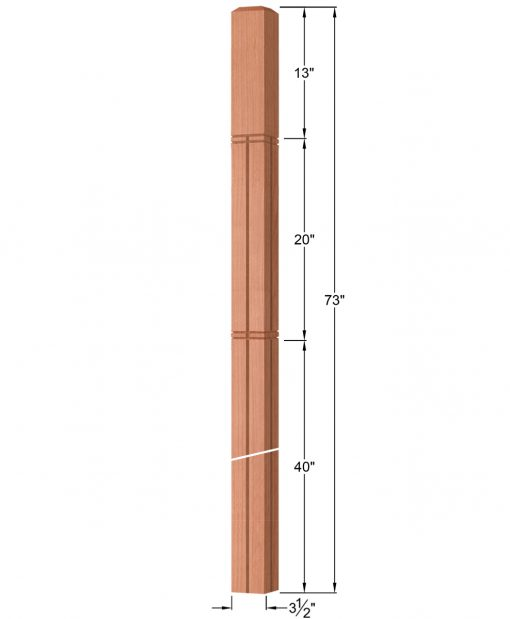"OP-4019-350-M6C-VG4: 3 1/2"" Mission 6 Centered V-Grooved Intersection or Winder Newel Post Dimensions"