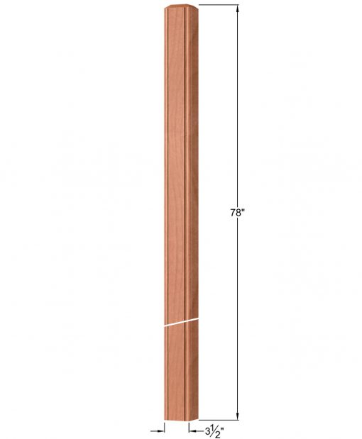"""OP-4020-350-BC: 3 1/2"""" Beaded Corner Intersection or Winder Newel Post Dimensions"""