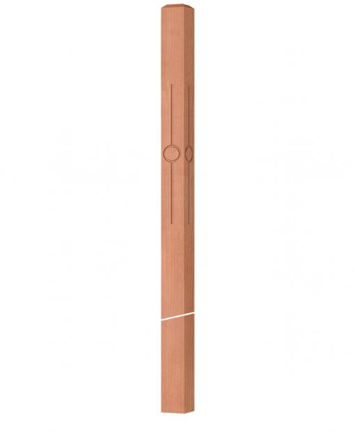 """OP-4020-350-CIR1-F4: 3 1/2"""" Circle 1 Fluted Intersection or Winder Newel Post"""
