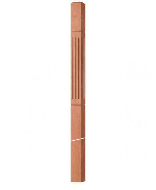 """OP-4020-350-FG: 3 1/2"""" Fluted & Grooved Intersection or Winder Newel Post"""