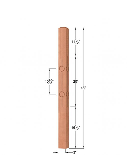 "OP-4110-300-CIR2-F4: 3"" Circle 2 Fluted Universal Newel Post Dimensions"