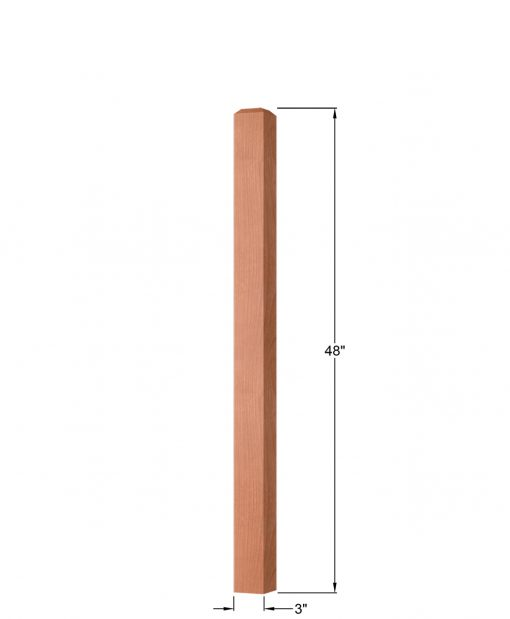 "OP-4110-300: 3"" Square Universal Newel Post Dimensions"