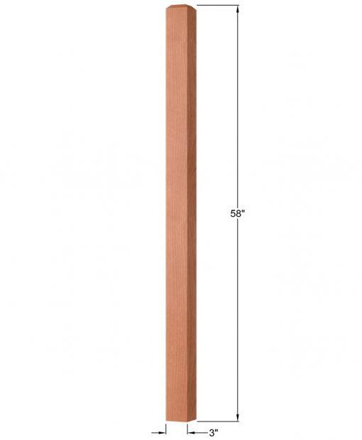 "OP-4111-300: 3"" Square Universal Newel Post Dimensions"
