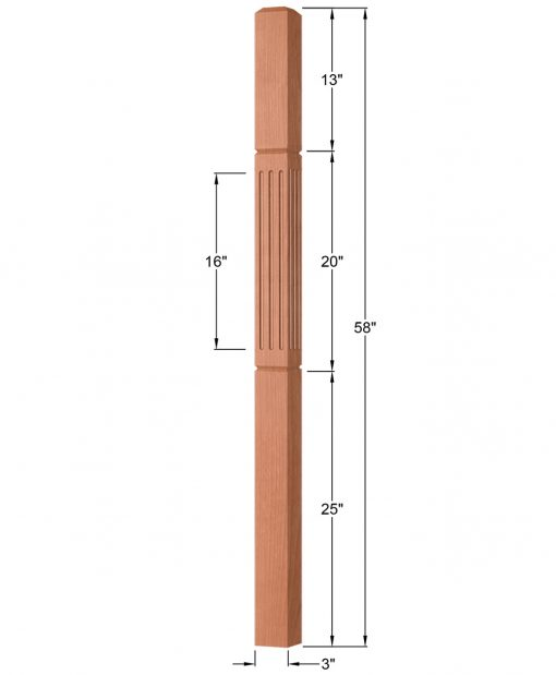 "OP-4111-300-FG: 3"" Fluted & Grooved Universal Newel Post Dimensions"