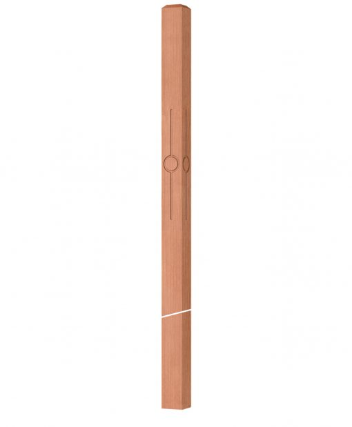 """OP-4119-300-CIR1-F4: 3"""" Circle 1 Fluted Intersection or Winder Newel Post"""