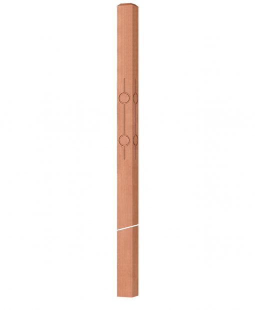 """OP-4119-300-CIR2-F4: 3"""" Circle 2 Fluted Intersection or Winder Newel Post"""