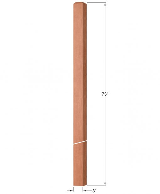 "OP-4119-300: 3"" Square Intersection or Winder Newel Post Dimensions"