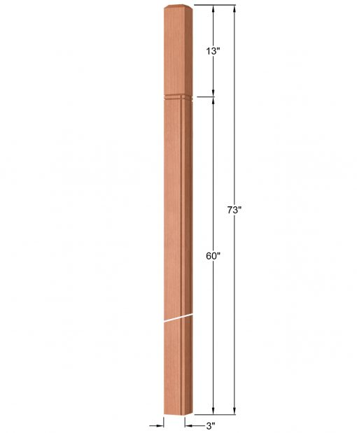 "OP-4119-300-M4R-VG4: 3"" Mission 4 RH V-Grooved Intersection or Winder Newel Post Dimensions"