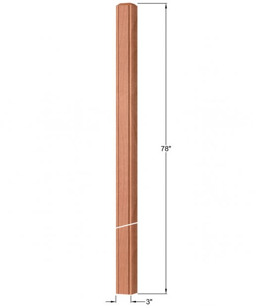 """OP-4120-300-BC: 3"""" Beaded Corner Intersection or Winder Newel Post Dimensions"""