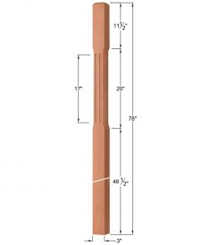 "OP-4120-300-CF: 3"" Chamfered & Fluted Intersection or Winder Newel Post Dimensions"