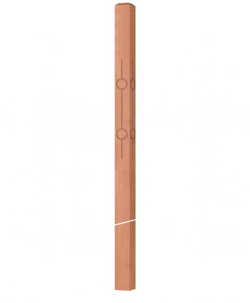 """OP-4120-300-CIR2-F4: 3"""" Circle 2 Fluted Intersection or Winder Newel Post"""