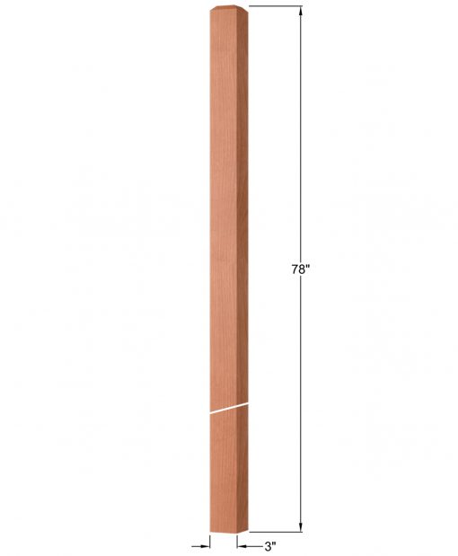 """OP-4120-300: 3"""" Square Intersection or Winder Newel Post Dimensions"""
