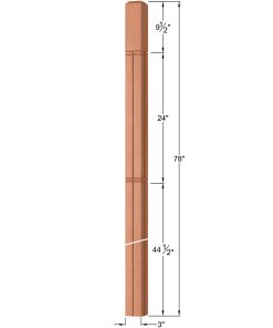 "OP-4120-300-M6C-VG4: 3"" Mission 6 Centered V-Grooved Intersection or Winder Newel Post Dimensions"