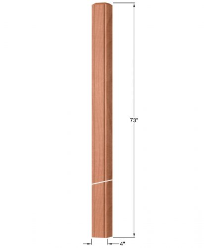 """OP-4219-400-BC: 4"""" Beaded Corner Intersection or Winder Newel Post Dimensions"""